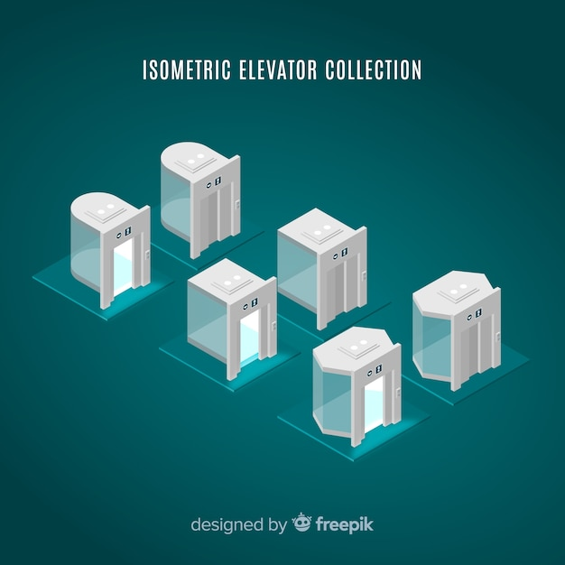 Isometric view of modern elevator collection Free Vector