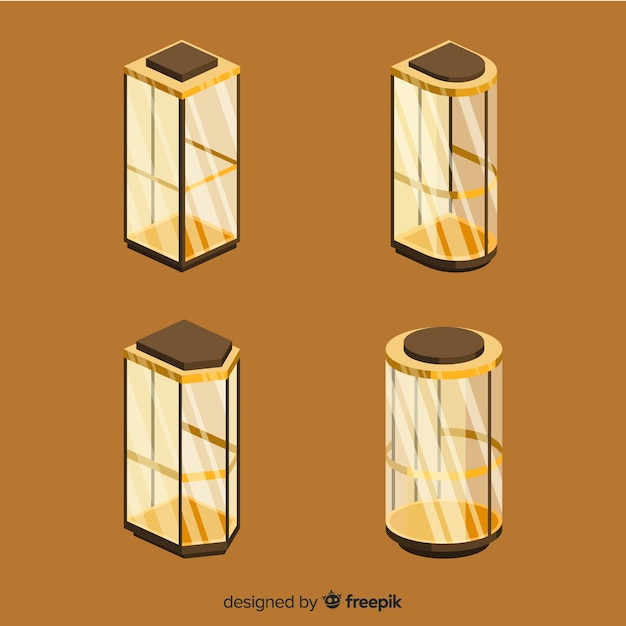 Vista isometrica della moderna collezione di ascensori Vettore gratuito