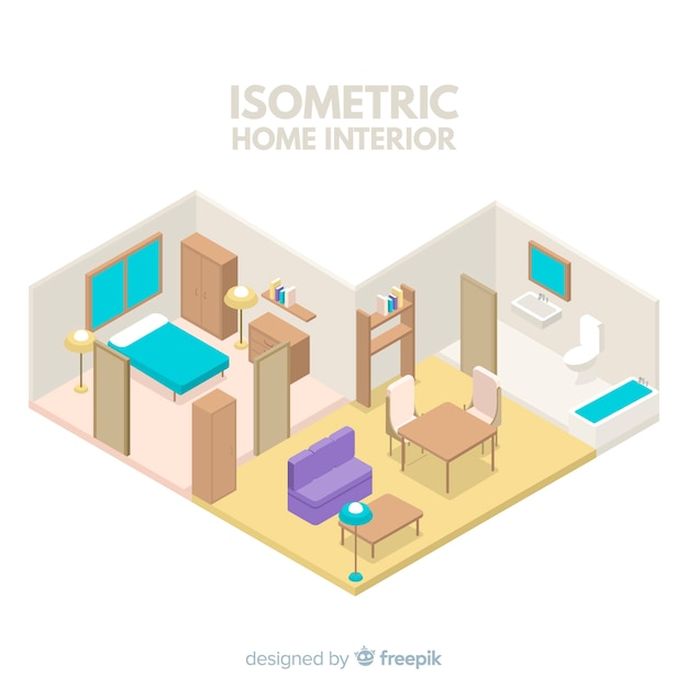 Isometric view of modern home interior Free Vector