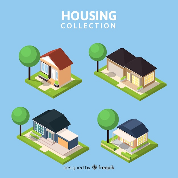 Isometric view of modern housing collection Free Vector