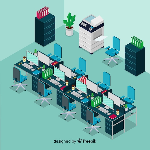 Isometric view of modern office interior Free Vector