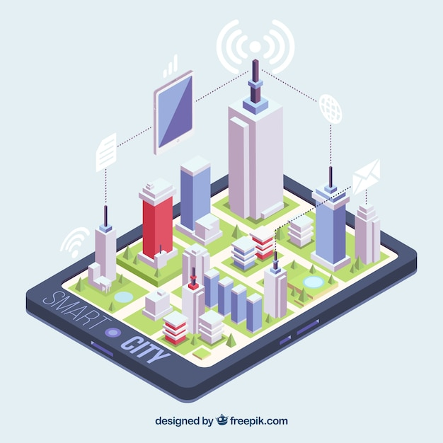 Isometric view of a city on a mobile phone Free Vector