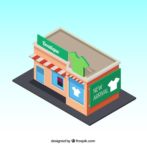 Isometric view of a nice clothing store