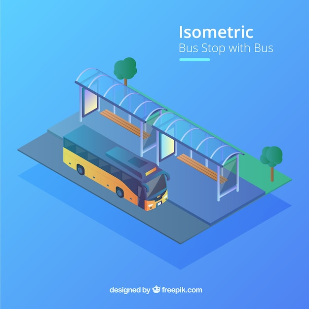 Isometric view of bus and bus stop with flat\ design