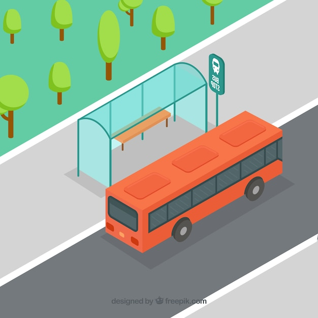 Isometric view of bus and bus stop with flat design