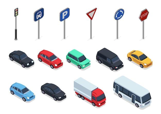 車と道路標識の等角図、白で隔離された3d車両 Premiumベクター