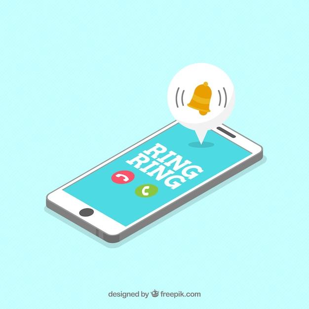 Изометрический вид мобильного телефона с сообщением instagram Бесплатные векторы