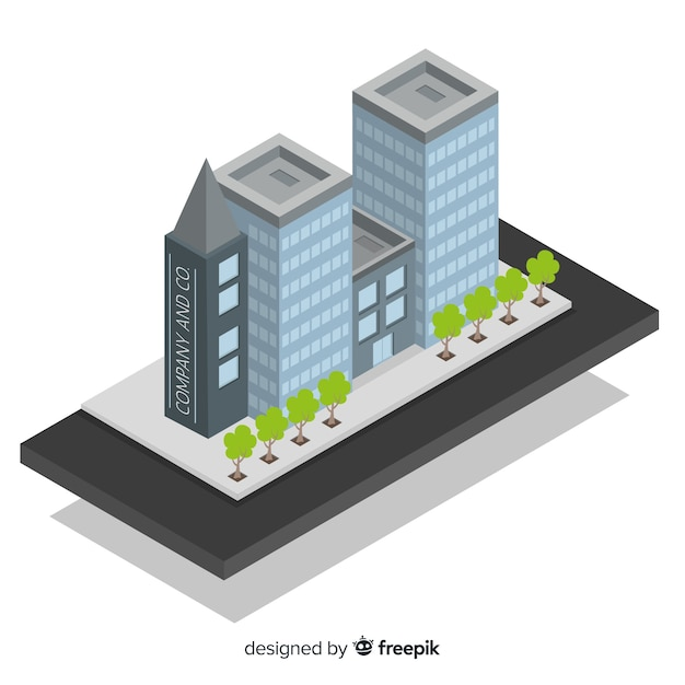 Isometric View Of Modern Office Building Free Vector