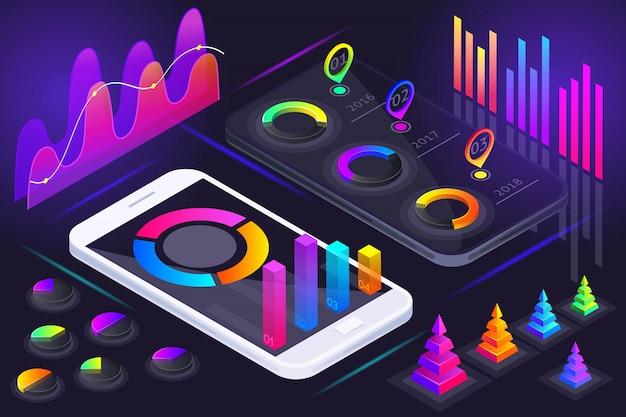 スマートフォンの画面、ホログラムのカラフルな図、グラフ、分析、レポート、利益、市場のリーダーシップの等角図 Premiumベクター