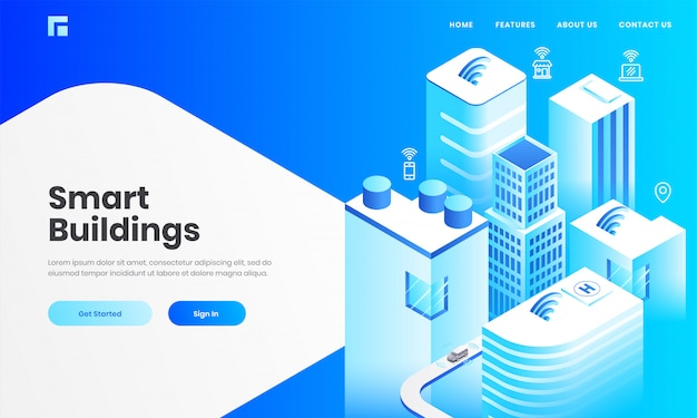 Isometric view of skyscraper buildings with technology devices through internet network for smart building concept based landing page design. Premium Vector