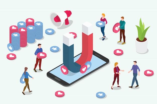 Isometric viral content social media marketing team people Premium Vector