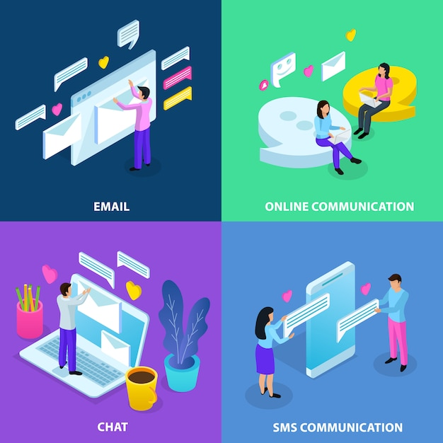 Isometric virtual communication banner collection Free Vector