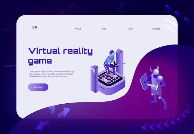 Целевая страница баннера с концепцией изометрической виртуальной реальности со ссылками на персонажей-воинов и кнопкой «показать больше» Бесплатные векторы