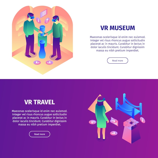 Isometric virtual reality horizontal banners set with read more buttons colorful items and people vector illustration Free Vector