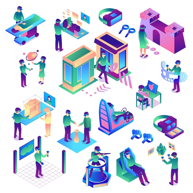 Isometric virtual reality set of colorful isolated images representing various human activities related to augmented reality vector illustration Free Vector