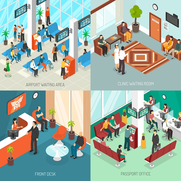 Isometric waiting areas set Free Vector