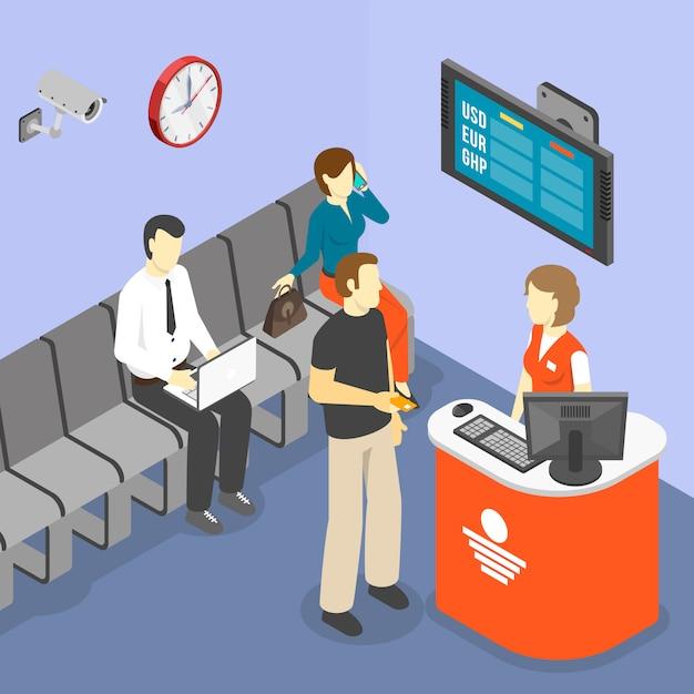 Isometric waiting room Free Vector