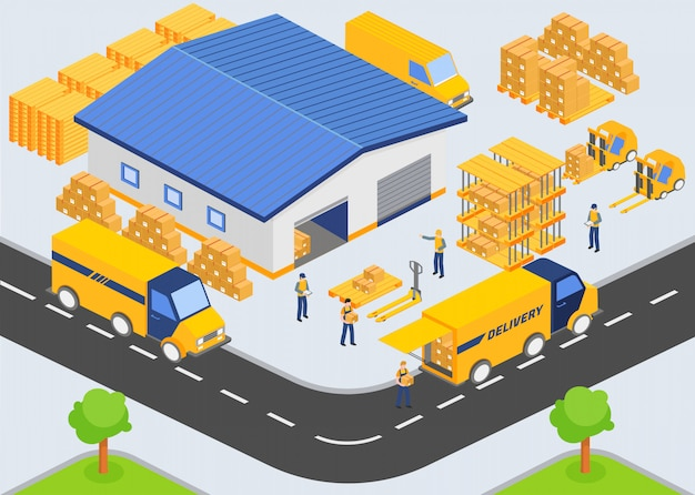 Isometric warehouse company. loading and unloading process from warehouse. Premium Vector