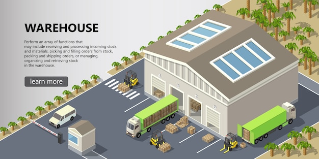 Isometric warehouse, delivery service Free Vector