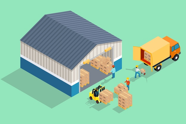 等尺性倉庫。倉庫からの積み降ろし。 無料ベクター