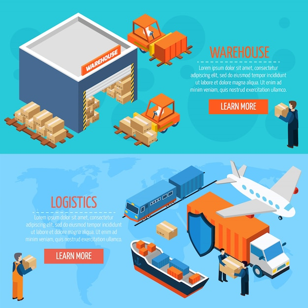 Isometric Warehouse Logistics Banners Free Vector