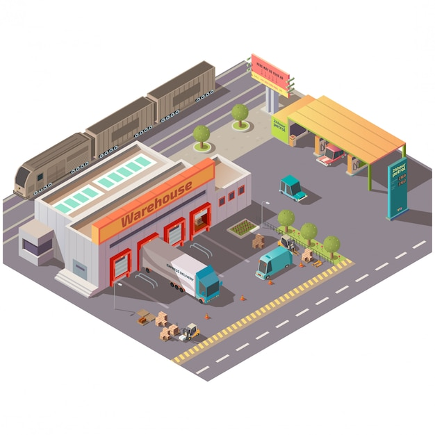 Isometric warehouse and petrol station Free Vector