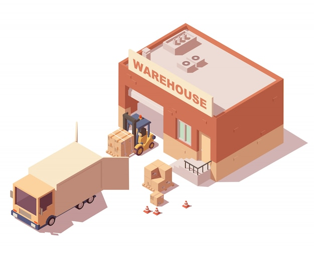 Isometric warehouse with truck, forklift and delivery boxes Premium Vector