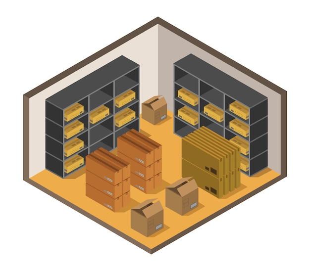 Isometric warehouse Free Vector