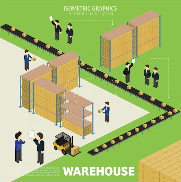 Isometric warehousing process Premium Vector