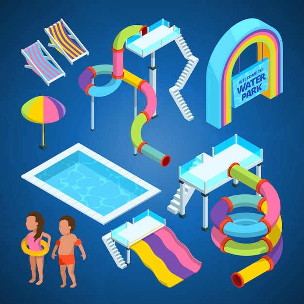 Isometric water park, various attractions at swimming pools Premium Vector
