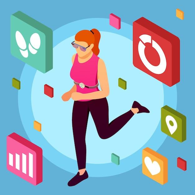 모바일 피트니스 응용 프로그램 그림 문자 벡터 일러스트와 함께 운동을하는 여성 인간 캐릭터와 아이소 메트릭 웨어러블 스포츠 장치 배경 무료 벡터