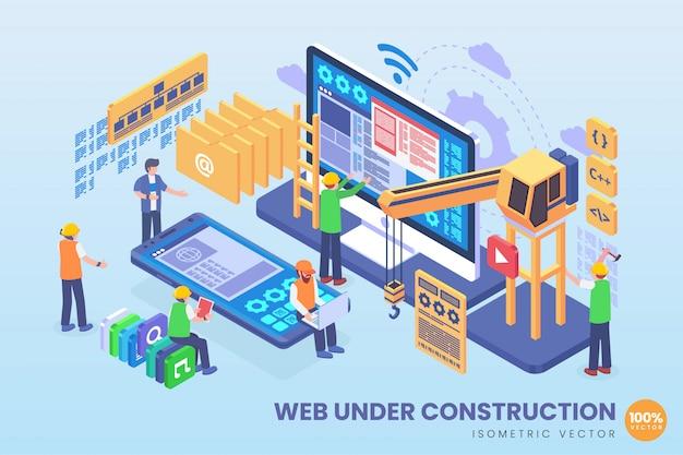 Isometric web under construction illustration Premium Vector