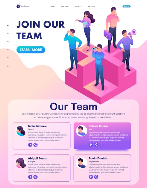Isometric web landing page of bright concept join our team, we need professionals Premium Vector
