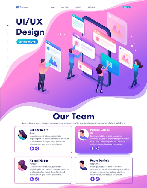 Isometric web landing page of bright concept the process of creating an application design, ui ux Premium Vector