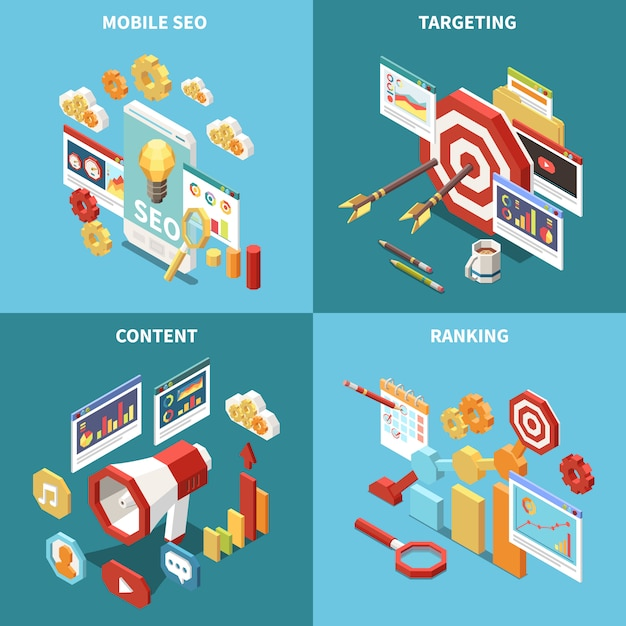 Isometric web seo icon set with mobile seo targeting content and ranking descriptions  illustration Free Vector