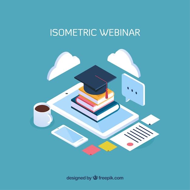 Isometric webinar concept design Free Vector