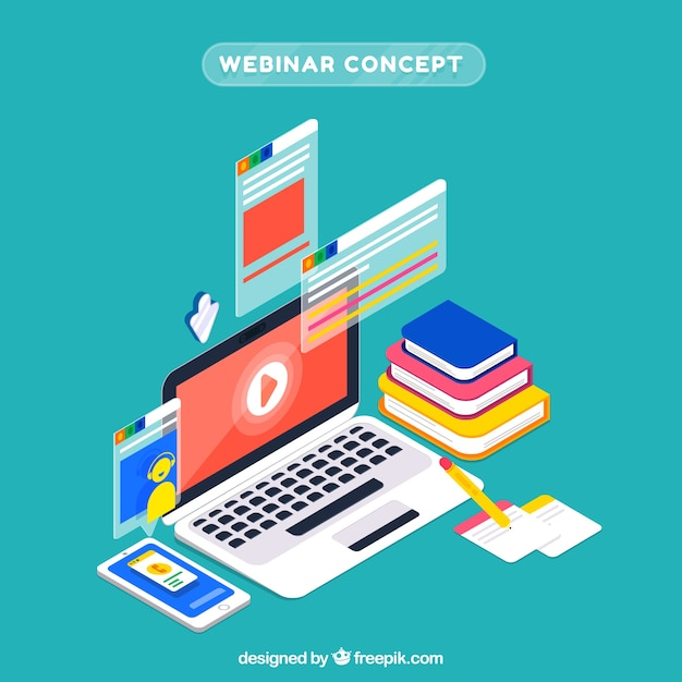 Isometric webinar concept Free Vector