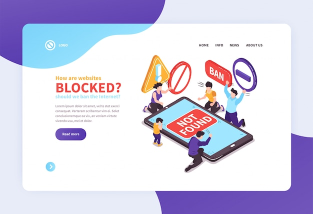 Isometric website concept landing page design with text links and images vector illustration Free Vector