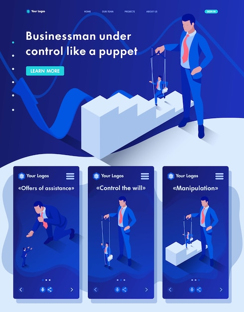 Isometric website landing page of the businessman is under control like a puppet Premium Vector