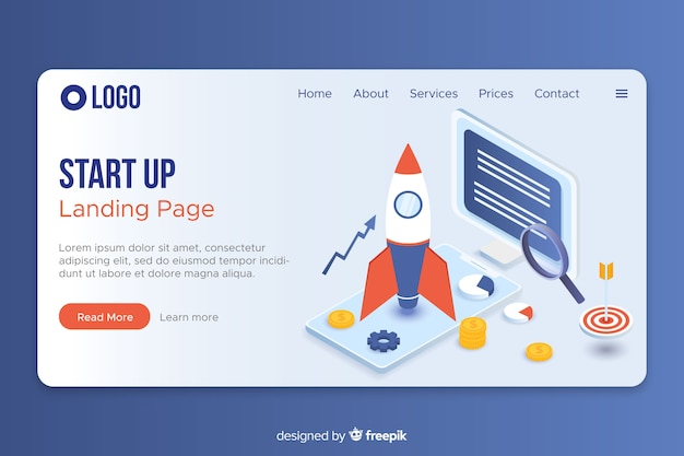 Isometric website landing page Free Vector