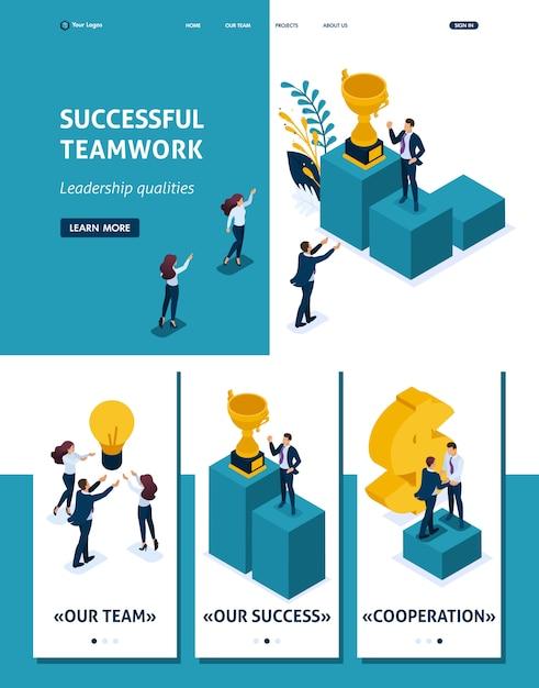 Isometric website template landing page leadership qualities. Premium Vector