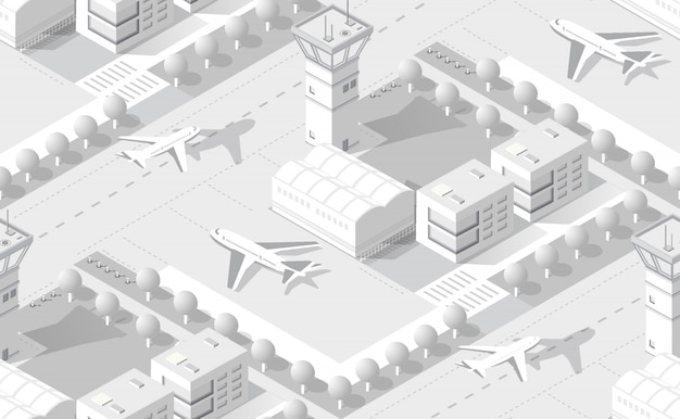 Isometric white airport Premium Vector