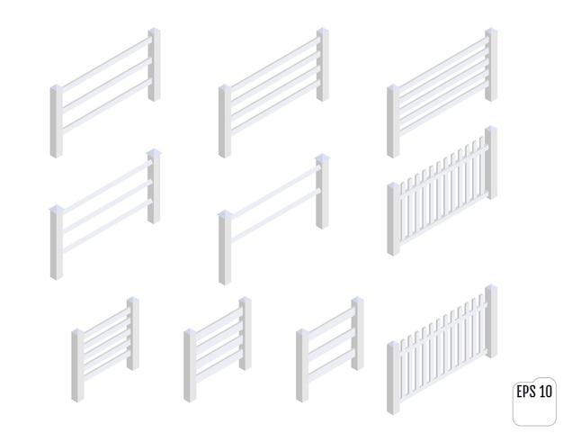 等尺性の白いフェンスセクション。フェンシングコンストラクター。さまざまな形の木製のフェンス。 Premiumベクター