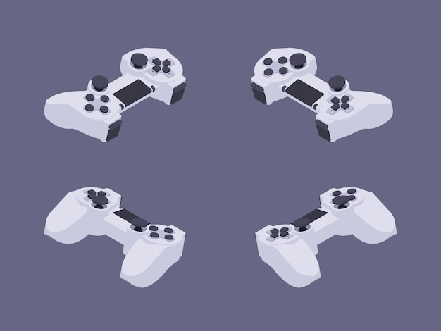 Isometric white gamepad Premium Vector