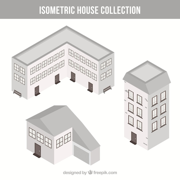 Isometric white house collection Free Vector