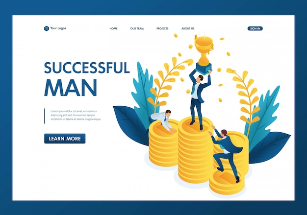 Isometric the winner with the prize, competitors are scrambling to take away the cup landing page Premium Vector