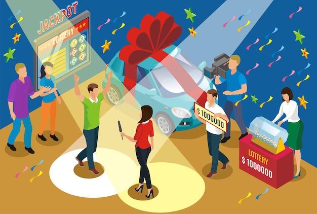 Концепция изометрической выигрышной лотереи с автомобилем репортеров в качестве приза и счастливым победителем джекпота в центре внимания Бесплатные векторы