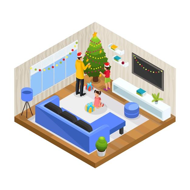 Il concetto di vacanza in famiglia invernale isometrica con padre e figli decora l'albero di natale a casa isolato Vettore gratuito
