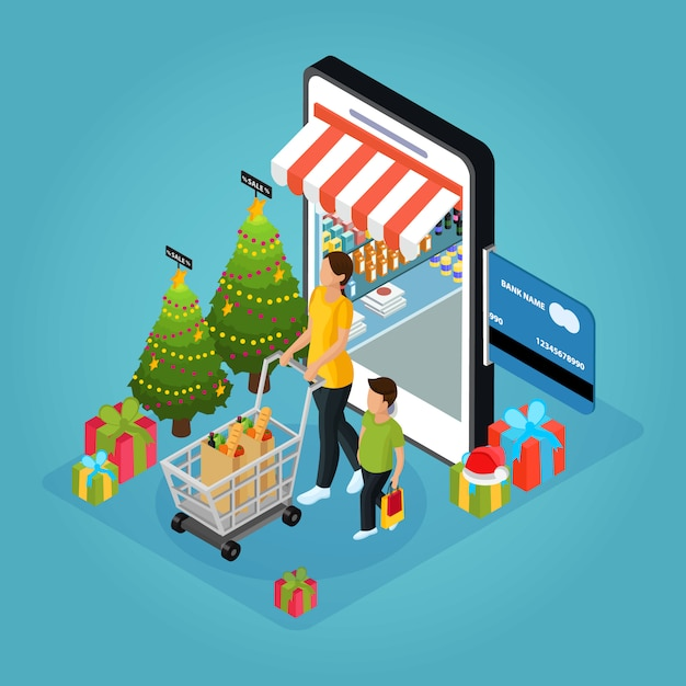 Isometric winter holiday online shopping concept with woman boy present boxes christmas trees mobile isolated Free Vector
