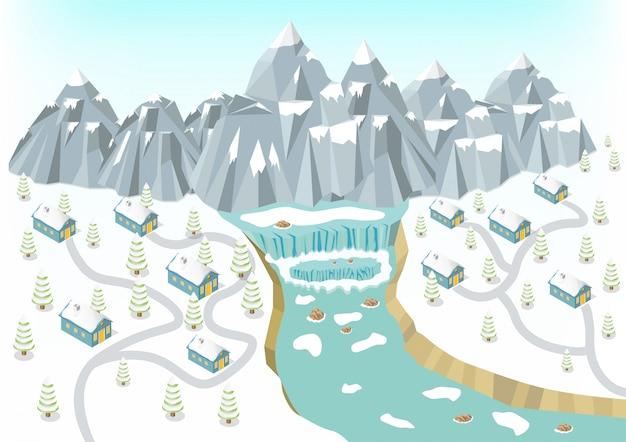 Isometric winter mountains background Premium Vector